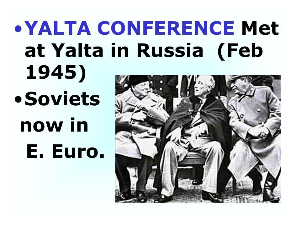 YALTA CONFERENCE Met at Yalta in Russia (Feb 1945)