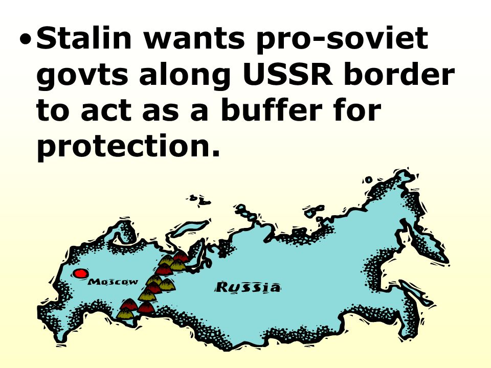 Stalin wants pro-soviet govts along USSR border to act as a buffer for protection.