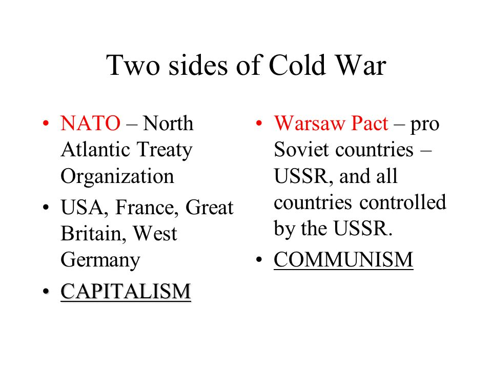 Two sides of Cold War NATO – North Atlantic Treaty Organization