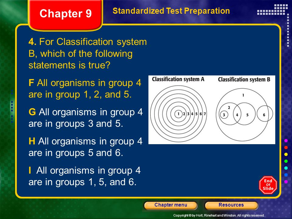 Chapter 9 Standardized Test Preparation. 4. For Classification system B, which of the following statements is true