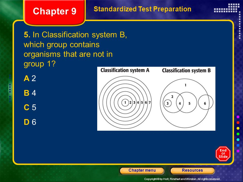 Chapter 9 Standardized Test Preparation. 5. In Classification system B, which group contains organisms that are not in group 1