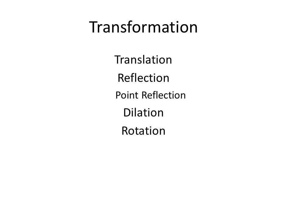 Transformation Translation Reflection Dilation Rotation