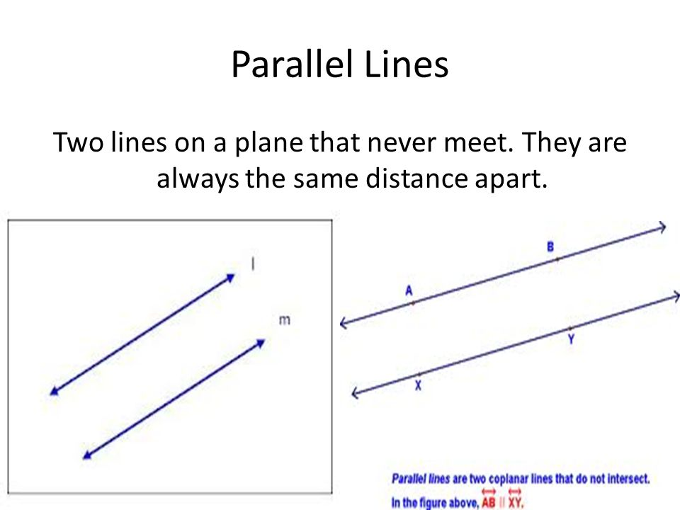 Parallel Lines Two lines on a plane that never meet. They are always the same distance apart.