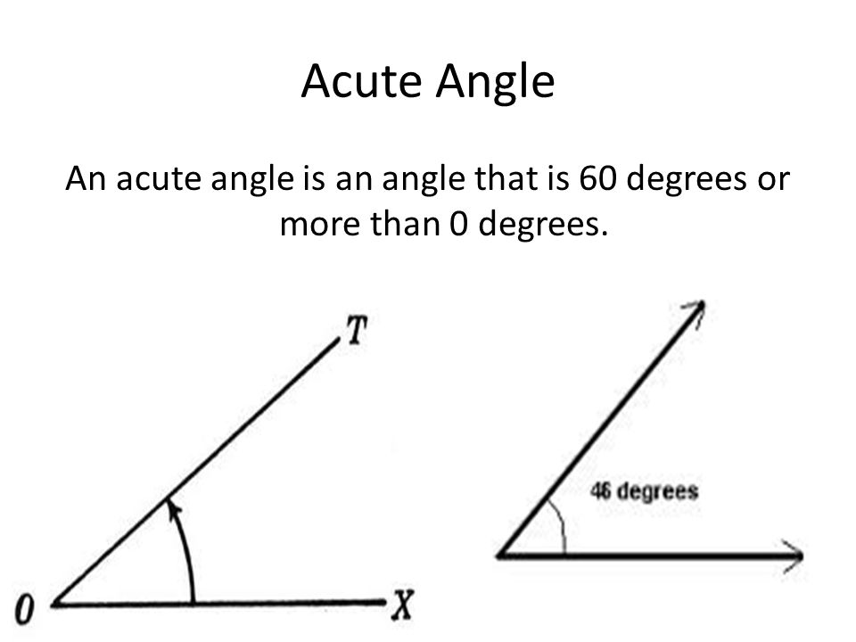 An acute angle is an angle that is 60 degrees or more than 0 degrees.