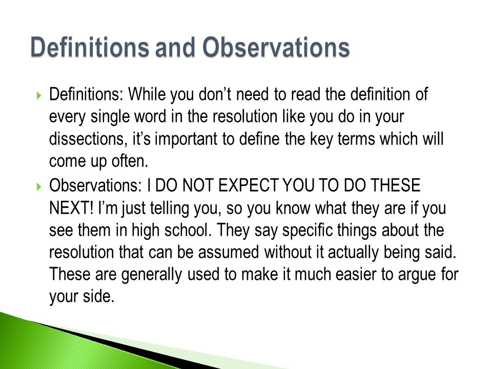 Definitions and Observations