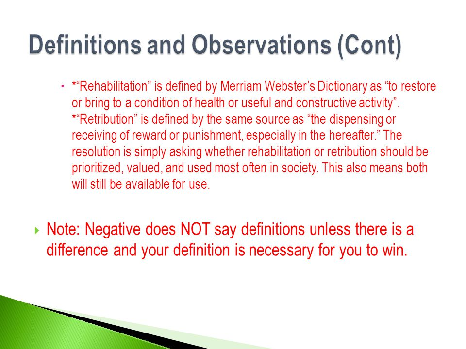 Definitions and Observations (Cont)