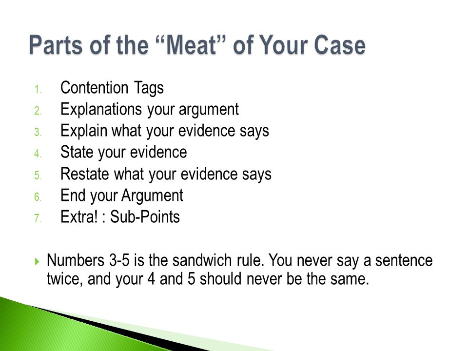 Parts of the Meat of Your Case