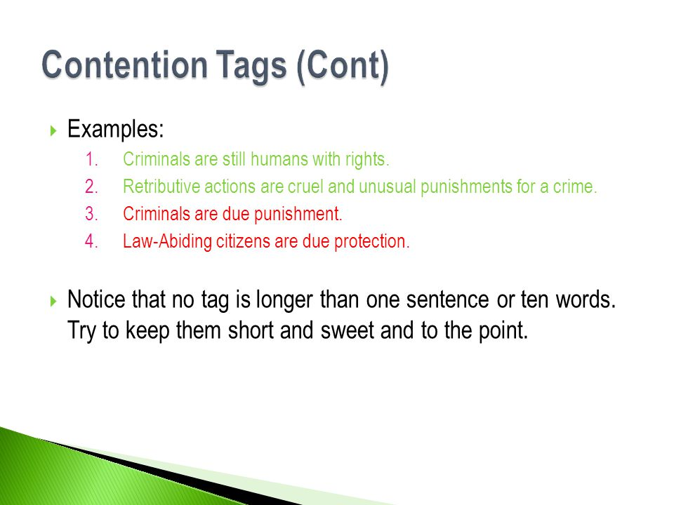 Contention Tags (Cont)
