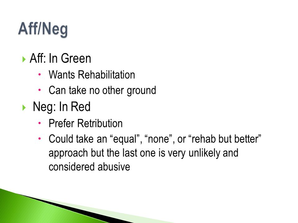 Aff/Neg Aff: In Green Neg: In Red Wants Rehabilitation