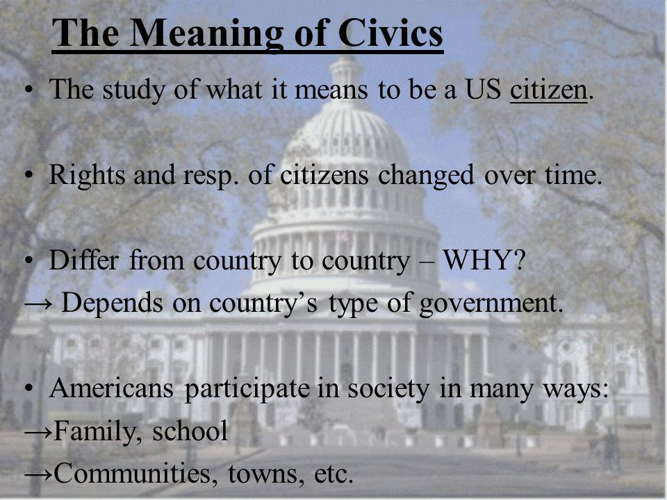 The Meaning of Civics The study of what it means to be a US citizen.