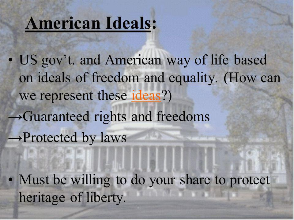 American Ideals: US gov't. and American way of life based on ideals of freedom and equality. (How can we represent these ideas )