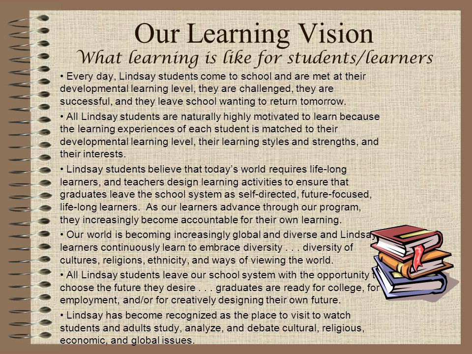 Our Learning Vision What learning is like for students/learners