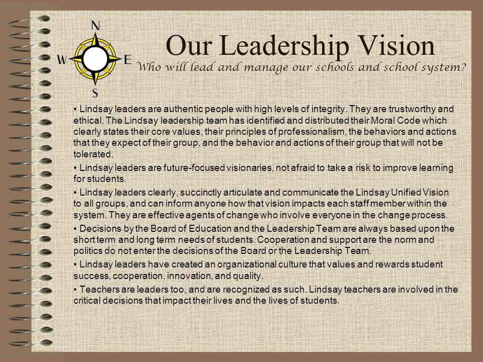 Our Leadership Vision Who will lead and manage our schools and school system