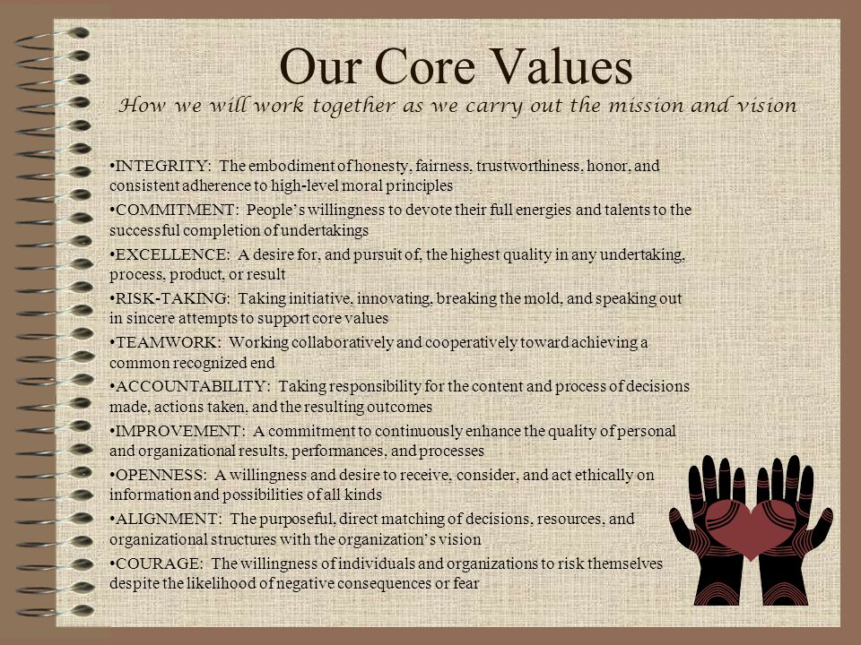 Our Core Values How we will work together as we carry out the mission and vision