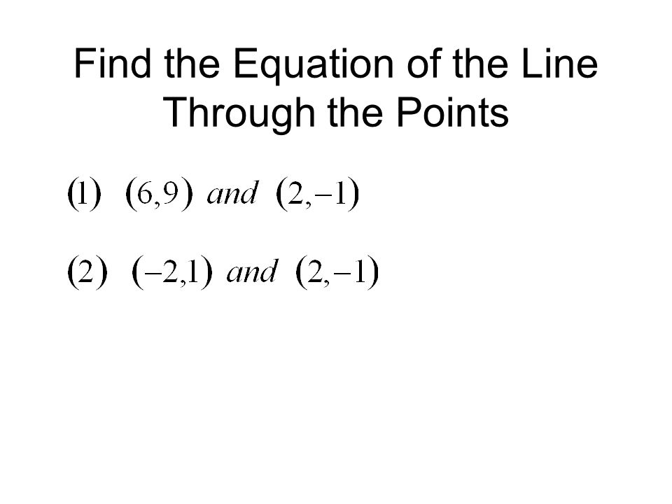 Find the Equation of the Line Through the Points