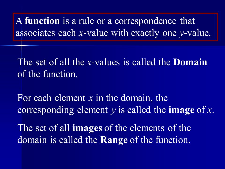 A function is a rule or a correspondence that associates each x-value with exactly one y-value.