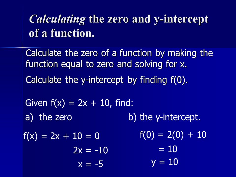 Calculating the zero and y-intercept of a function.