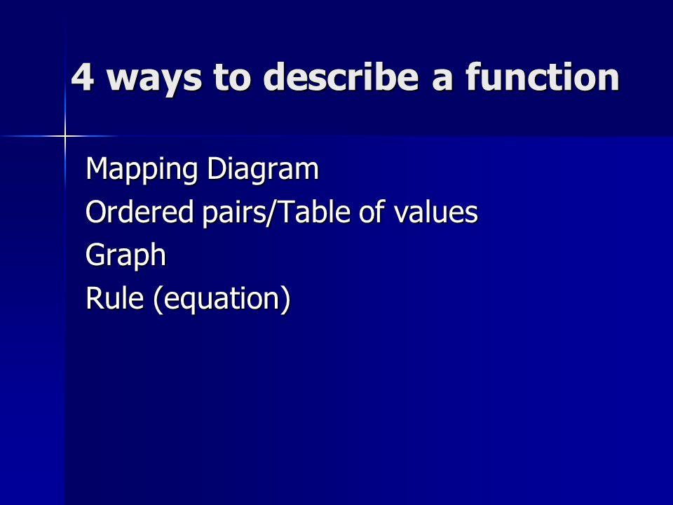 4 ways to describe a function