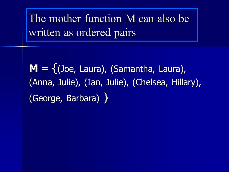 The mother function M can also be written as ordered pairs