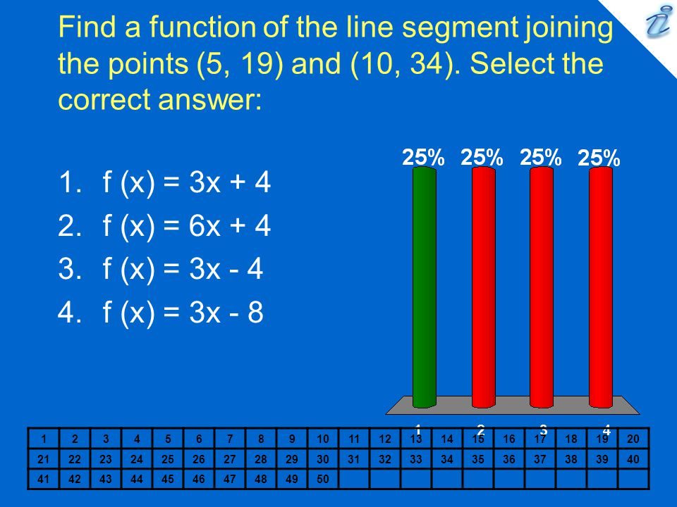 Find a function of the line segment joining the points (5, 19) and (10, 34). Select the correct answer: