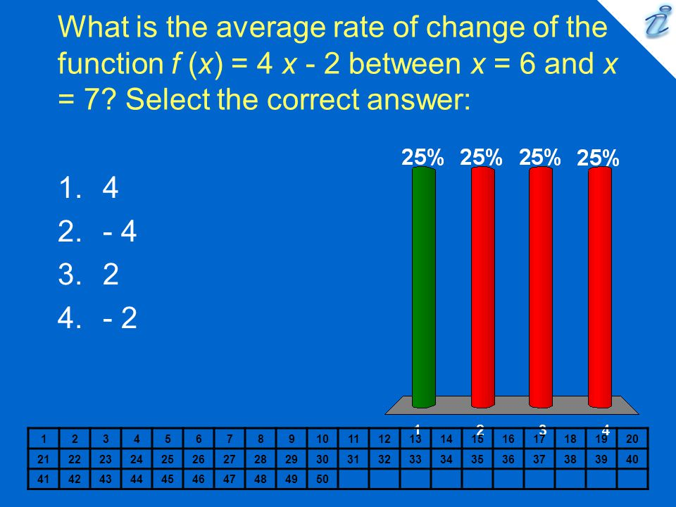 What is the average rate of change of the function f (x) = 4 x - 2 between x = 6 and x = 7 Select the correct answer: