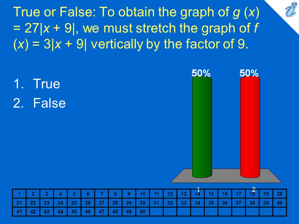 True or False: To obtain the graph of g (x) = 27|x + 9|, we must stretch the graph of f (x) = 3|x + 9| vertically by the factor of 9.