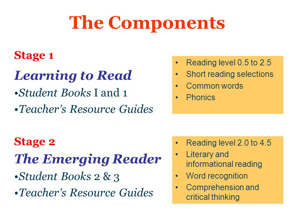The Components Learning to Read The Emerging Reader Stage 1