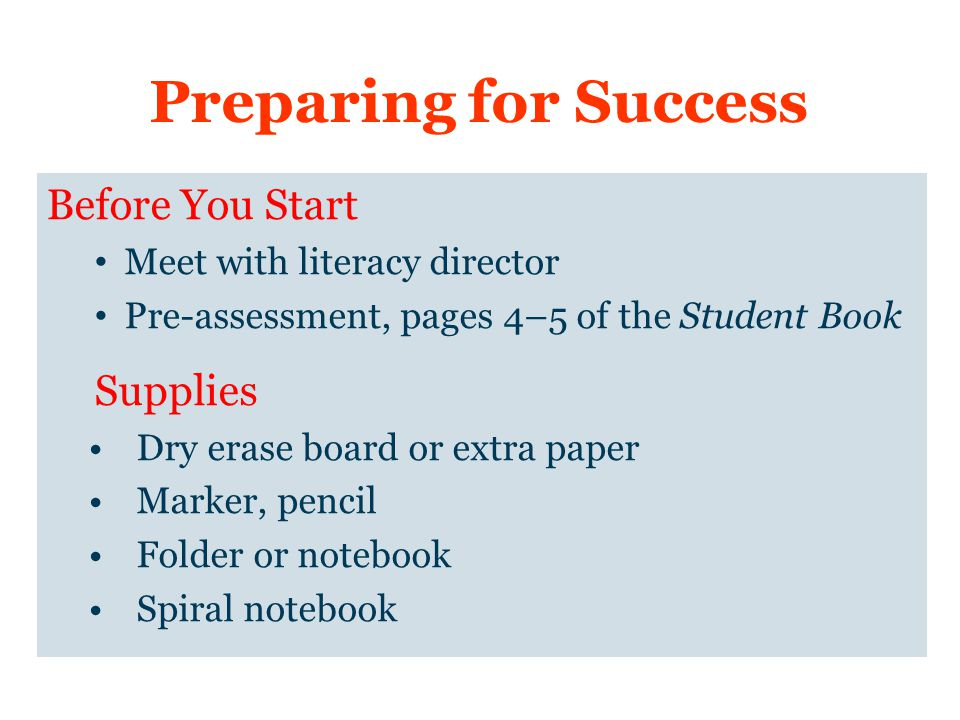 Preparing for Success Before You Start Supplies