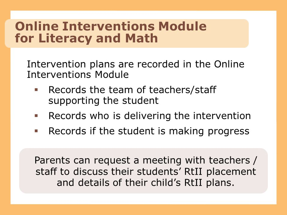 Online Interventions Module for Literacy and Math