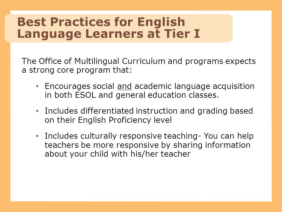 Best Practices for English Language Learners at Tier I