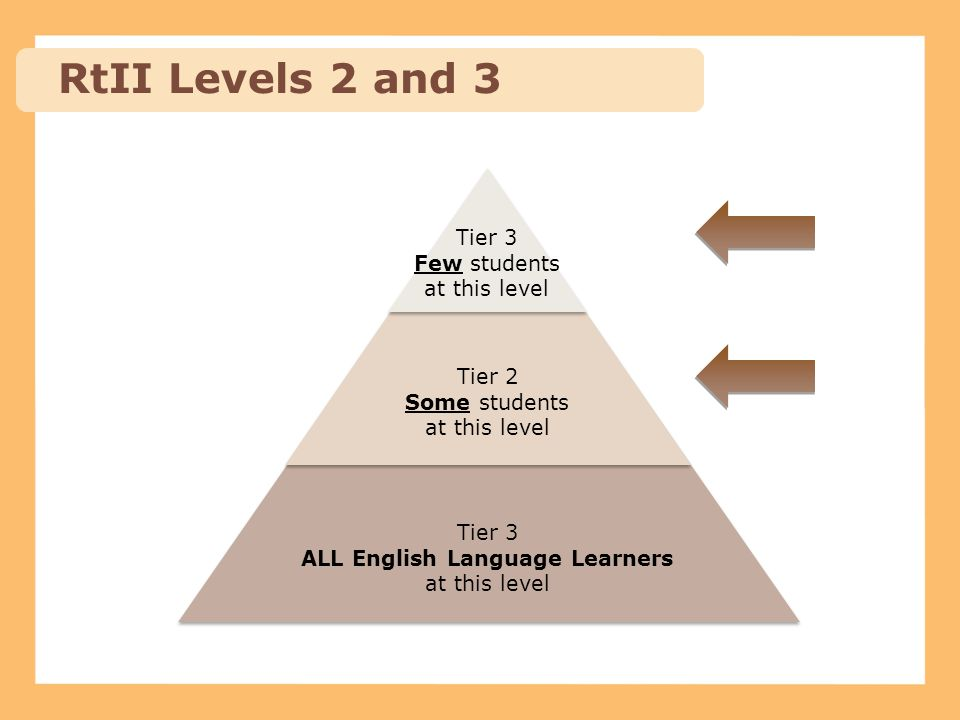 RtII Levels 2 and 3 Tier 3 Few students at this level Tier 2