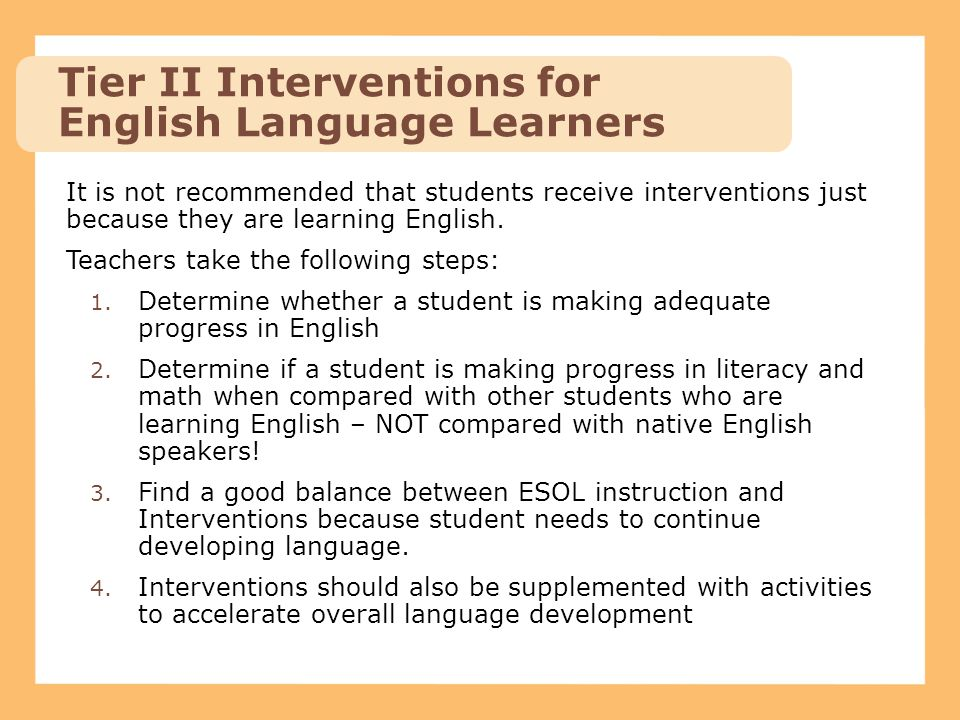 Tier II Interventions for English Language Learners