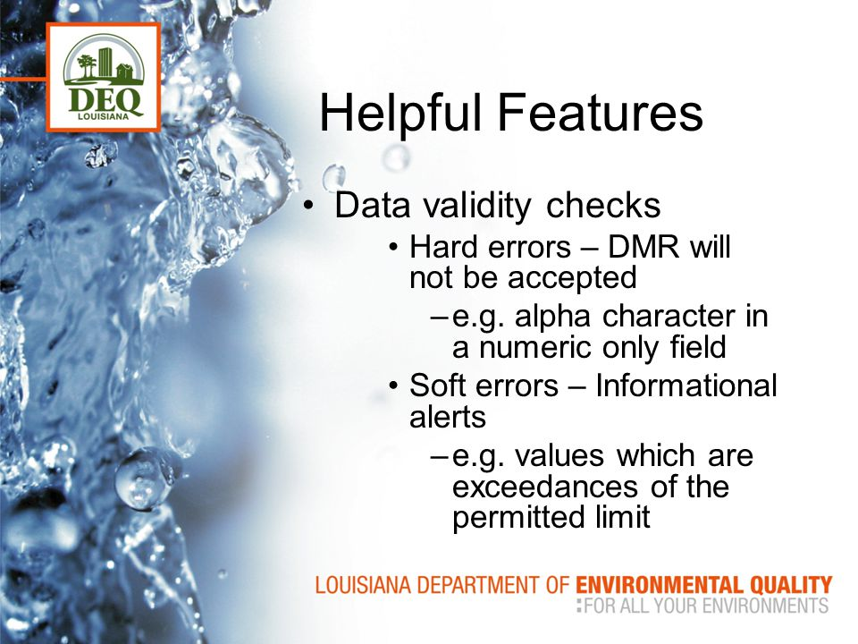 Helpful Features Data validity checks