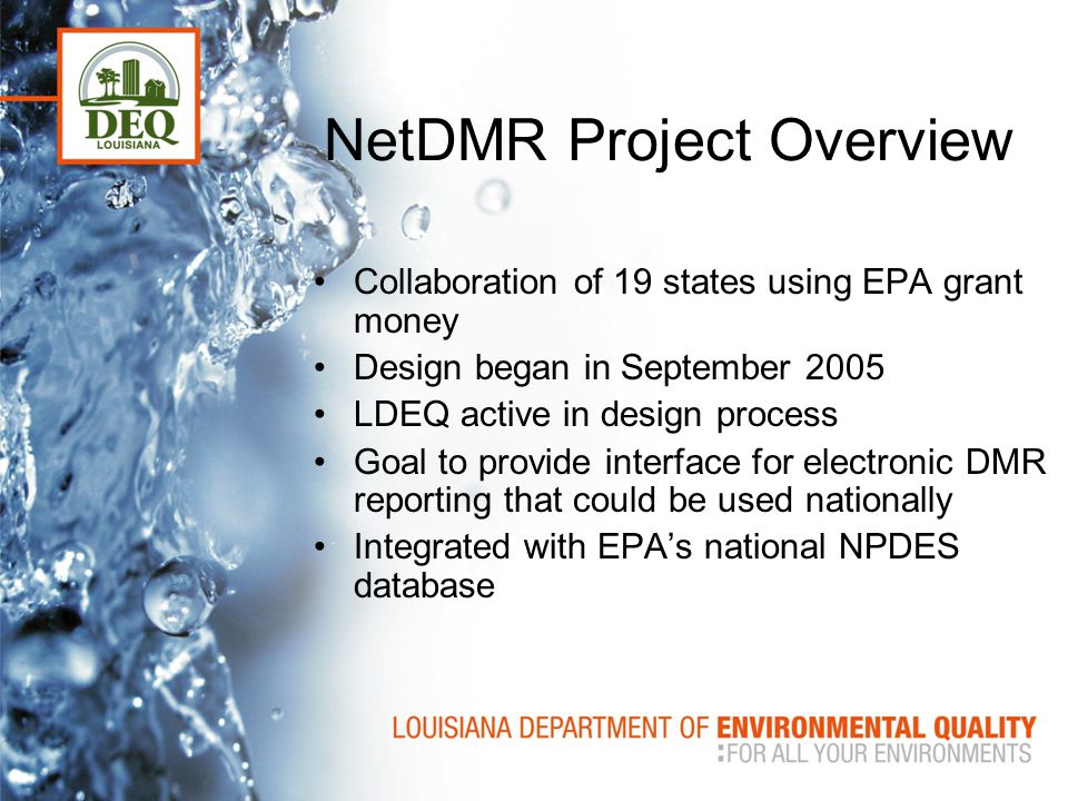 NetDMR Project Overview