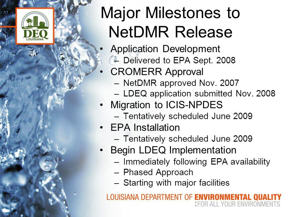 Major Milestones to NetDMR Release