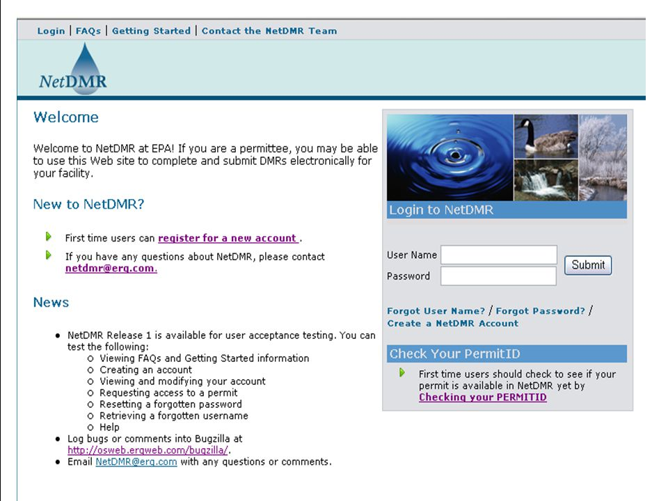 Sample Log-in Screen Currently being used for test which explains information in News section.