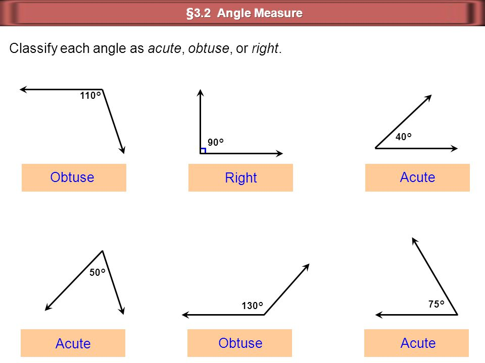 Classify each angle as acute, obtuse, or right.