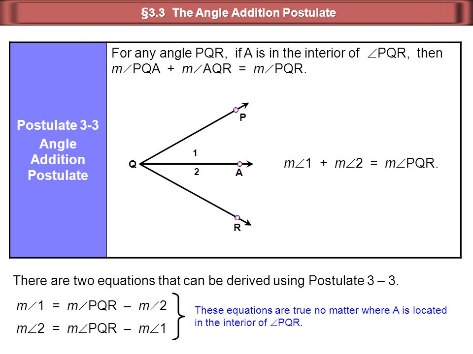 §3.3 The Angle Addition Postulate Angle Addition Postulate