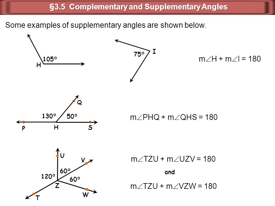 §3.5 Complementary and Supplementary Angles