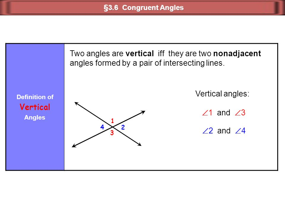Two angles are vertical iff they are two nonadjacent