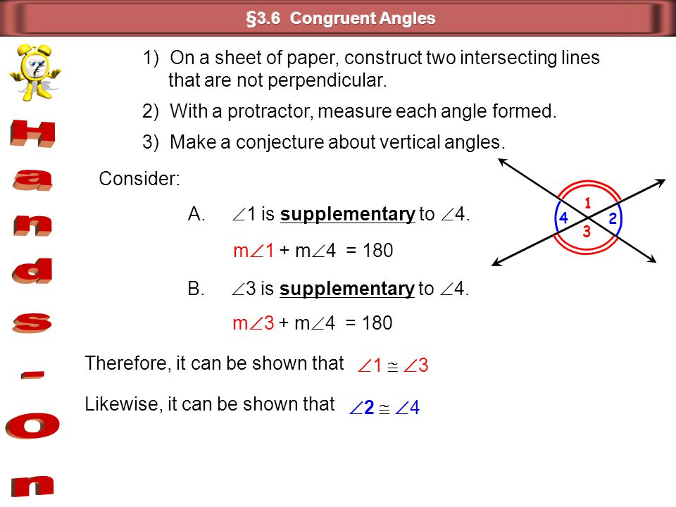 Hands-On 1) On a sheet of paper, construct two intersecting lines