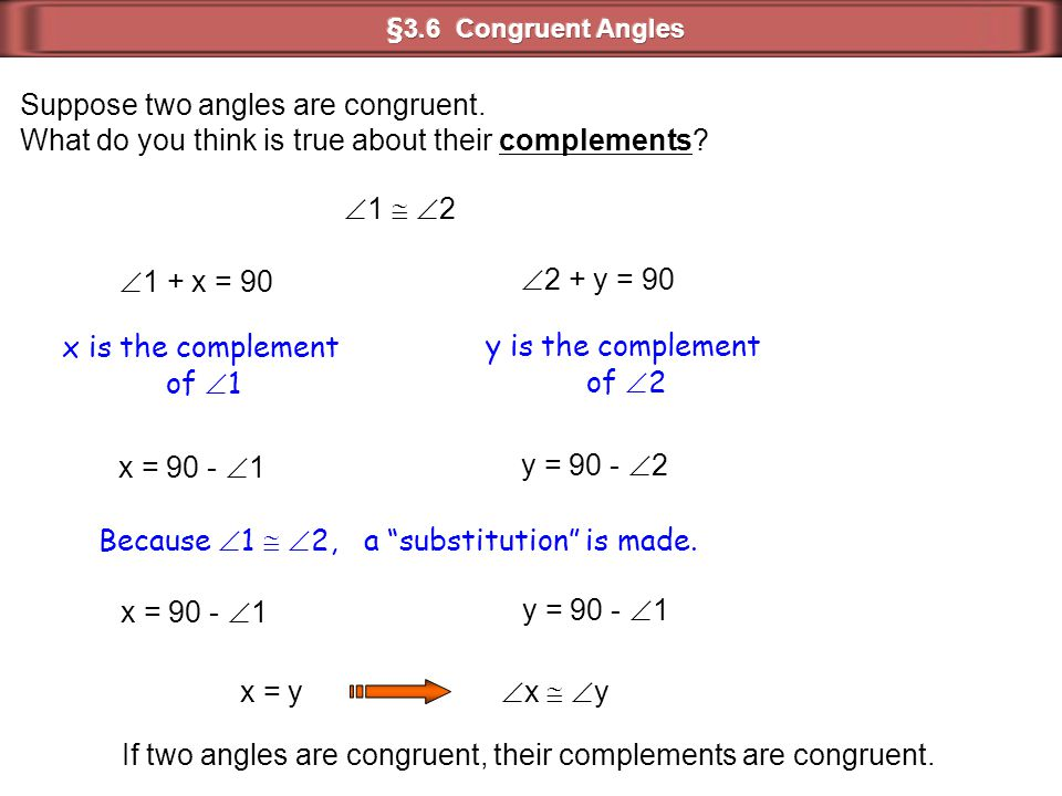 Suppose two angles are congruent.