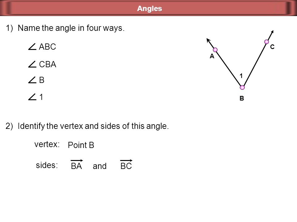 1) Name the angle in four ways.