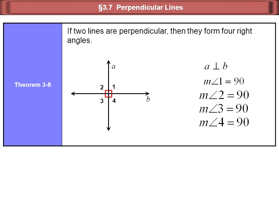 If two lines are perpendicular, then they form four right angles.
