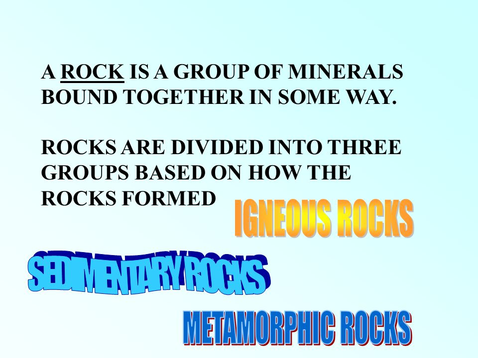 IGNEOUS ROCKS SEDIMENTARY ROCKS METAMORPHIC ROCKS