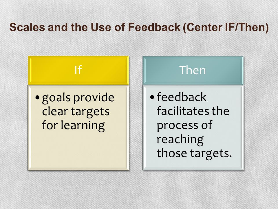 Scales and the Use of Feedback (Center IF/Then)