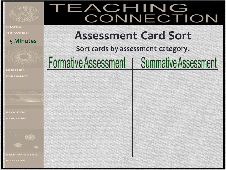 Sort cards by assessment category.