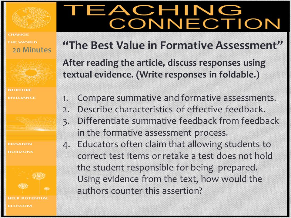 The Best Value in Formative Assessment