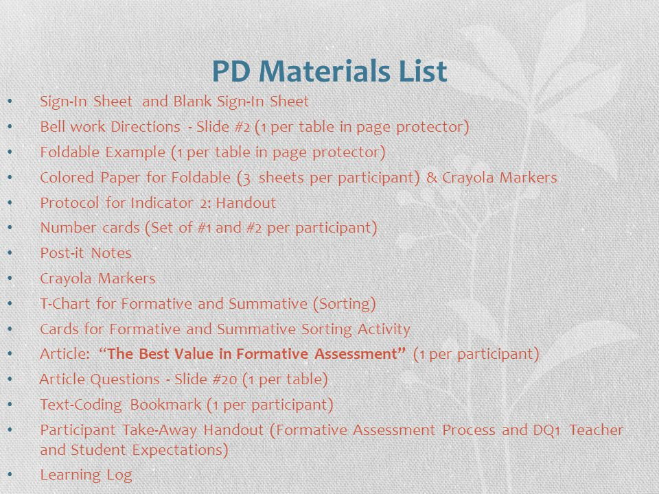 PD Materials List Sign-In Sheet and Blank Sign-In Sheet