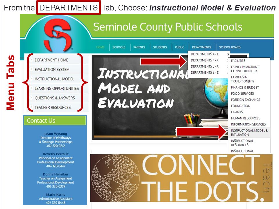 From the DEPARTMENTS Tab, Choose: Instructional Model & Evaluation